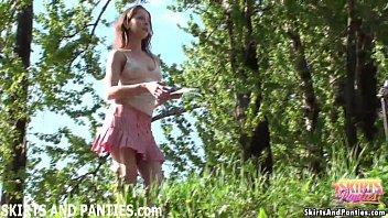 Cute Country Girl Lilia Flashing Her Panties Outdoors