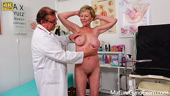 Old pussy exam of hairy blonde granny - MatureGynoExam.com