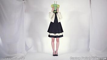 A woman wearing an insect head poses as a model