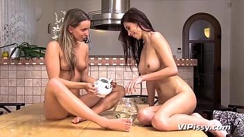 Stunning Lesbians Turn Dinner Into Wet Sex Session
