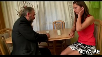 Hot old and young sex with cute sweetheart jerking off old man