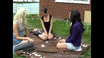 Charlotte, Debz and Bex play Strip Obey in the garden