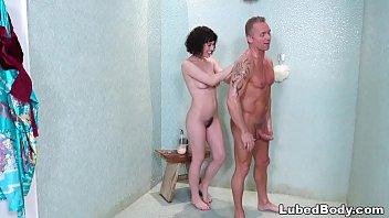 First shower cock Olive glass does her first nuru massage