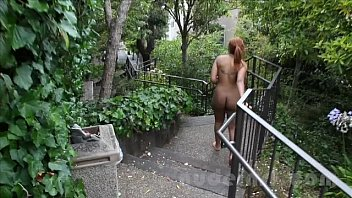 Nude in San Francisco:  Hot black teen walks around naked