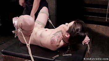 Pain clit rub Petite slave clit fondled in bondage