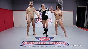 Brandi Mae CBT in nude wrestling fight then pegging loser Vorschaubild