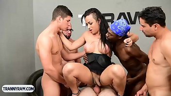 Trans sexual gangbang Brazilian tranny gangbang fucked by a group of horny guys