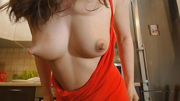 Young mom shows her big natural milky tits