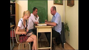 Schoolgirl screwed by teacher and classmate Thumb