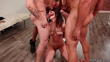 Small tits Milf in bondage gets orgy