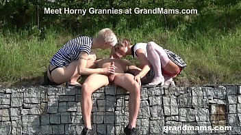 """Two Grandmas Are Sucking the Life Out of an Innocent Twink <span class=""""duration"""">5 min</span>"""
