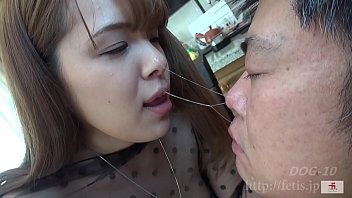 Dog sniffing busty girl 2 Natto smelly big tits
