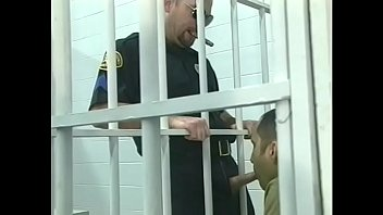 Randy stud getting his cock sucked off by soldier in the cell