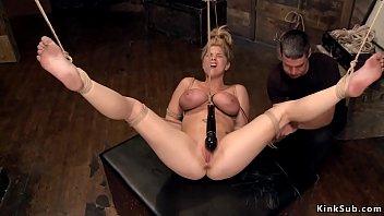 Elizebeth montgomery naked Hogtied blonde in horizontal suspension