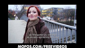 Czech redhead is paid cash to flash and suck dick in public