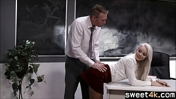 Teen blonde student teasing old Teacher