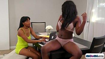 Black teen licks her ebony stepsis pussy