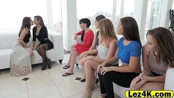 Gorgeous office lesbian girlfriends train pussy fucking
