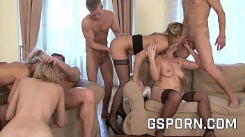 Orgy with four sexies milfs and four hard cocks