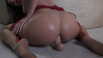 Beautiful brunette big ass Martina Smeraldi riding a big dildo