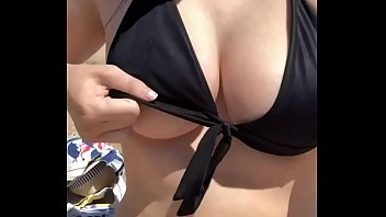 Exposing herself at the beach