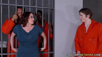 Prison sex assault clip - Busty maggie green has interracial threesome in jail