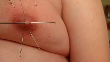 Playng with Long skewer and accupuncture needles im my tits 3