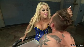 Ts and blonde anal fuck male in latex