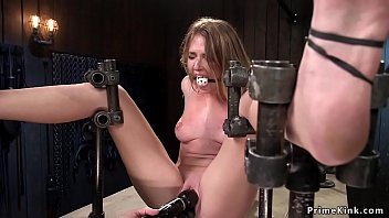 Blonde ass hooked in device bondage