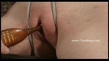 Blonde bitch bound with boobs strangled