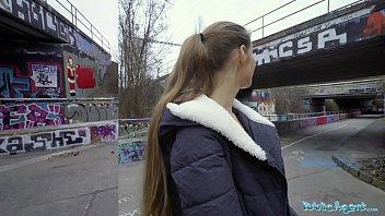 Public Agent Kinuski fucks a big Spanish cock outside under a tunnel