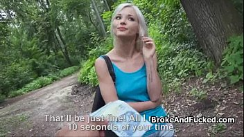 Perky blond amateur fucks in woods