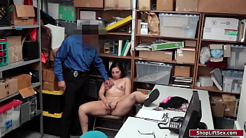 Latina toys her pussy as officer watches