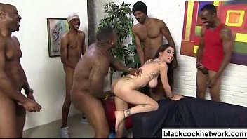 Men cumming in her pussy - Interracial creampie with 7 black cocks