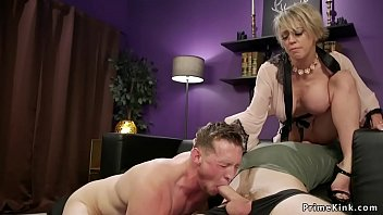Stripped tied cuckold slave cock sucker - Huge tits milf makes husband suck dick