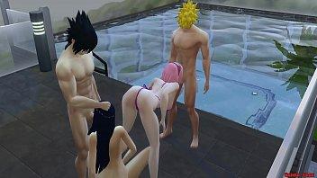 Wife Exchange With Hinata and Sakura Naruto Hentai Pool Day