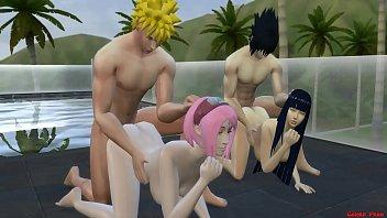 Intercambio de Esposas Con Hinata y Sakura Día de Piscina Naruto Hentai صورة