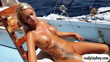 Hot babes deep sea fishing while naked