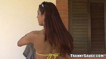 Tranny foxy - Foxy brunette tranny honey taking it off outdoors