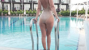 Swimsuit see thru bikini Im wearing transparent swimsuit in the public pool