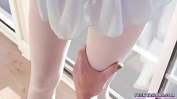 Tiny Asian teen ballerina Eva Yi got her pussy stretched by her horny trainers cock.