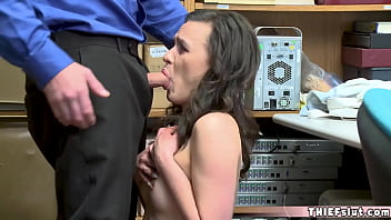 Cute faced brunette shoplifter gets a rough doggystyle