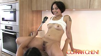 CUM KITCHEN: Hairy Asian Lesbians Mia Li & Milcah make Cookies and Eat Pussy
