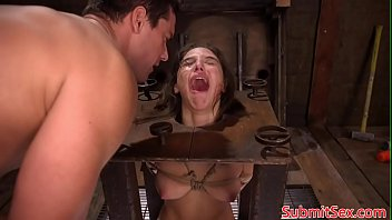 Pegged bdsm sub boxed before electrosex Thumb