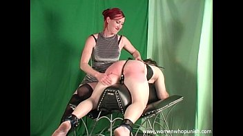 Bare husband spank - Domina punishing the slave