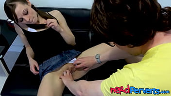 Skinny young babe pussy screwed by sneaky nerd