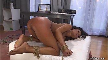 Ebony beauty rough banged in bondage