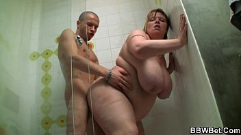 Huge titted fatty screwed in the shower