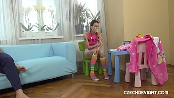 Tattooed Girl In Baby Clothes Rammed