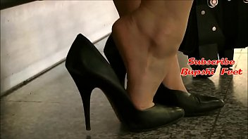 Candid Blonde Secretary Barefoot Shoeplay Part 1- www.prettyfeetvideo.com